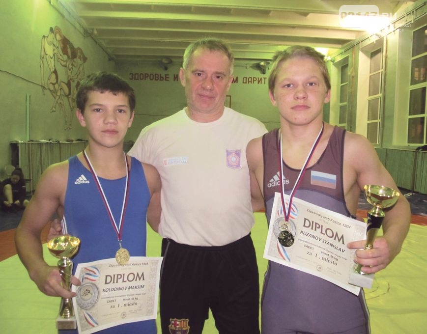 Спорт Борцы Колодинов Рузанов с тренером
