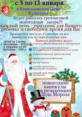 Новогодние каникулы в резиденции Деда Мороза