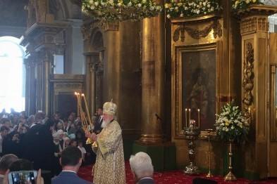 В Воскресенском соборе завершилась Божественная литургия, которую провел патриарх Кирилл