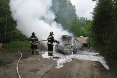 В Арзамасском районе на трассе вспыхнул автомобиль